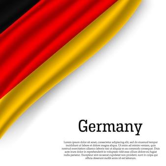 Winkende flagge deutschlands auf weiß