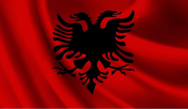 Winkende flagge von albanien. winkender abstrakter hintergrund der albanienflagge