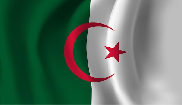 Winkende flagge von algerien. winkender abstrakter hintergrund der flagge algeriens