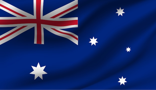 Winkende flagge von australien. abstrakter hintergrund der wehenden australienflagge