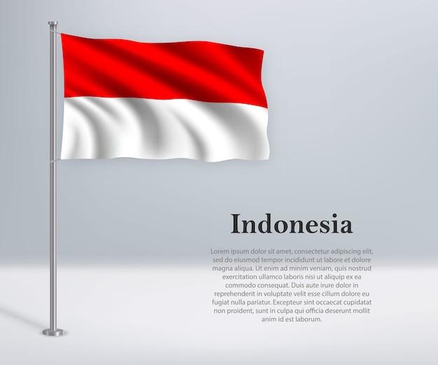 Winkende flagge von indonesien auf fahnenmast