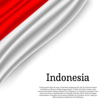 Winkende flagge von indonesien auf weiß