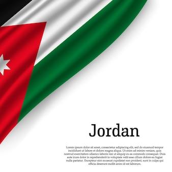 Winkende flagge von jordanien auf weiß