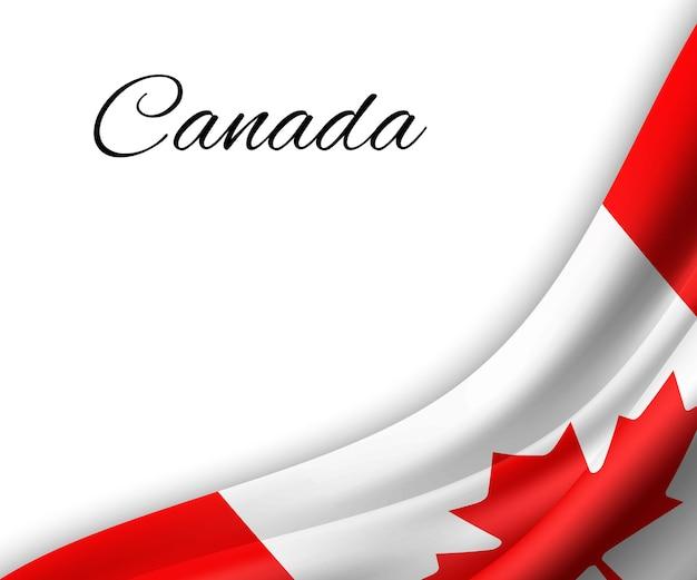 Winkende flagge von kanada auf weißem hintergrund.