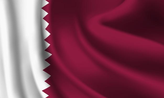 Winkende flagge von katar. abstrakter hintergrund der wehenden katarflagge