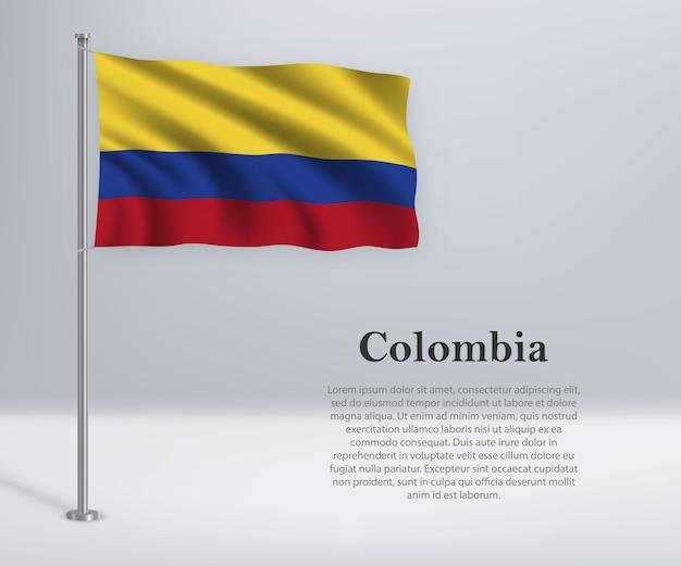 Winkende flagge von kolumbien auf fahnenmast