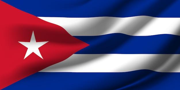 Winkende flagge von kuba. winkende kuba flagge