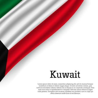 Winkende flagge von kuwait auf weiß