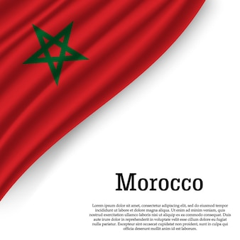 Winkende flagge von marokko auf weiß