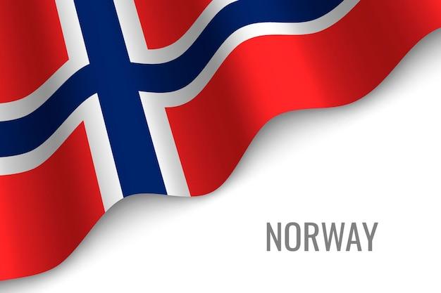 Winkende flagge von norwegen