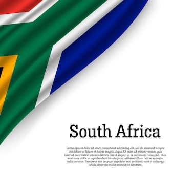 Winkende flagge von südafrika auf weiß