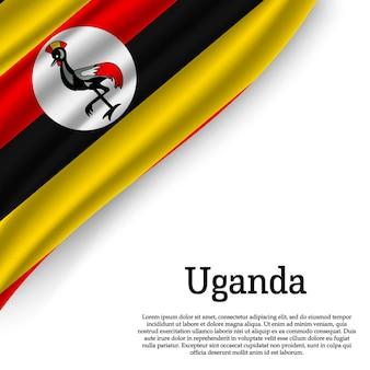 Winkende flagge von uganda auf weiß