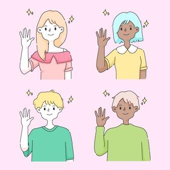 Winkende hand, die niedliche leute illustration begrüßt
