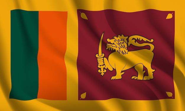 Winkender abstrakter hintergrund der flagge sri lankas