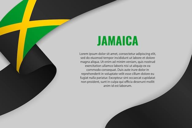 Winkendes band oder banner mit flagge von jamaika
