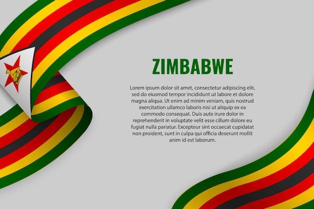 Winkendes band oder banner mit flagge von simbabwe