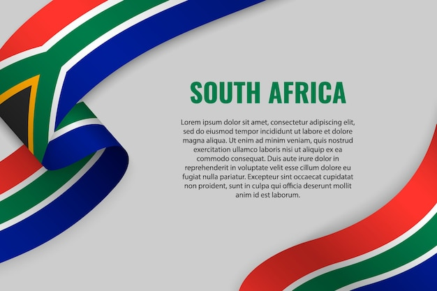 Winkendes band oder banner mit flagge von südafrika
