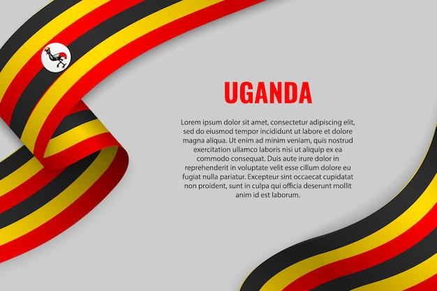 Winkendes band oder banner mit flagge von uganda