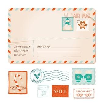 Winter alte vektoreinladungspostkarte, weihnachtsweinlesepostkarte, weihnachtsfeierstempel, gummistempel, feiertagsgruß, einklebebuchgestaltungselemente, postportobrief, weihnachtsmann, schneeflocken, baum