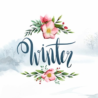 Winter aquarell kalligraphie typografie vektor