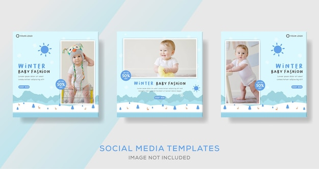 Winter baby mode verkauf social media post vorlagen