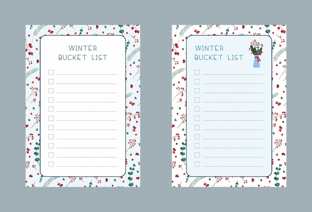 Winter bucket listen gesetzt. wochen- und tagesplanerseiten-designpaket. traditionelle symbolische weihnachtsbaumbaumblätter, beeren, blumenstrauß