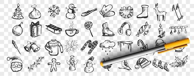 Winter doodle set. sammlung von handgezeichneten skizzenschablonenmustern der kalten jahreszeit schneemann und weihnachtsmann oder skifahren oder weihnachtsbaum auf transparentem hintergrund. feier der neujahrsillustration.