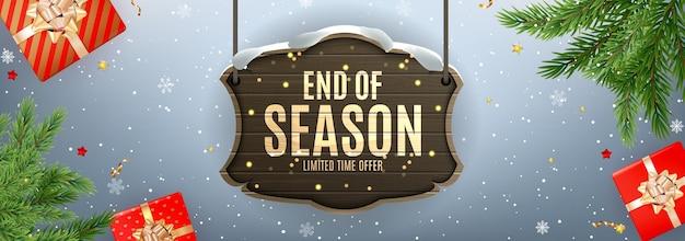 Winter ende der saison sale banner vorlage