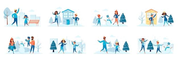 Winter familienurlaub bündel von szenen mit menschen charaktere