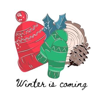 Winter-Farbvektor-Illustrations-Satz WINTER