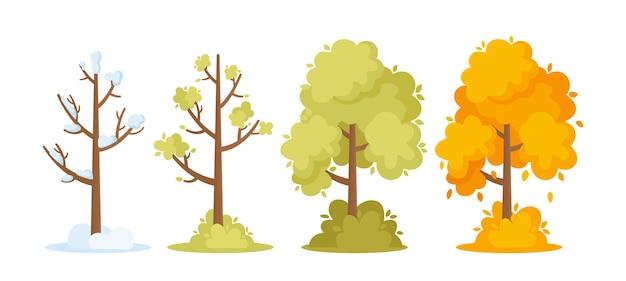 Winter, frühling, sommer und herbst jahreszeiten konzept. bäume mit schnee auf ästen, grünem und orangefarbenem laub. wald- oder parkpflanzen, isolated on white background. cartoon-vektor-illustration