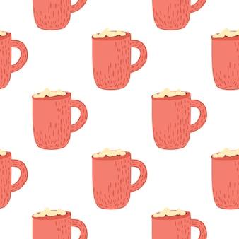 Winter gemütliches nahtloses muster mit heißer schokoladenbecherverzierung. rosa druck auf weißem hintergrund. ideal für stoffdesign, textildruck, verpackung
