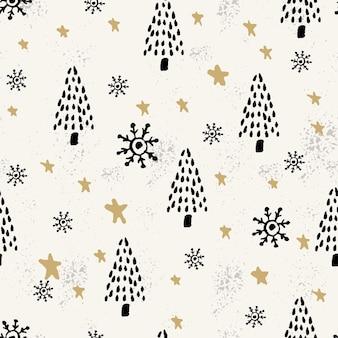 Winter grafisches nahtloses muster mit weihnachtsbäumen.