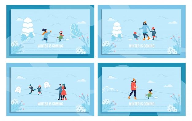 Winter-gruß-flache fahne eingestellt mit blauem rahmen