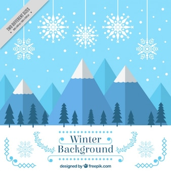 Winter-hintergrund mit schneebedeckten bergen und schneeflocken in flaches design