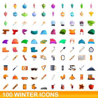 Winter icons set, cartoon-stil