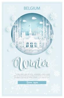 Winter in belgien für reise- und reisewerbekonzept