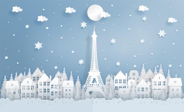 Winter in paris, frankreich mit weltberühmtem markstein