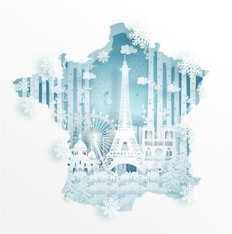 Winter in paris mit kartenkonzept für reise- und ausflugwerbekonzept