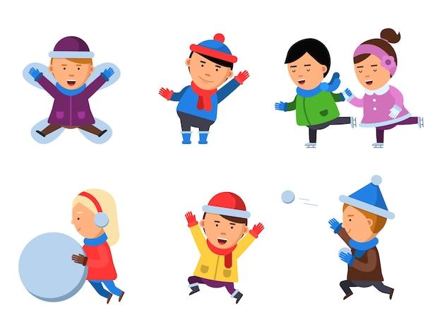 Winter kinderkleidung. die charaktere, die spiele in der aktion spielen, werfen die zujubelnden flachen lokalisierten maskottchen der sammlungslächelnleuteschnee-stiefel-karikatur auf