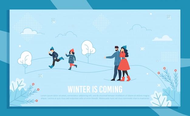 Winter kommende banner mit text und glückliche familie