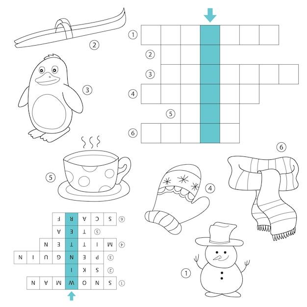 Winter-kreuzworträtsel für kinder. aufgabe und antwort. malbuch für kinder im vorschul- und schulalter. mit der antwort.