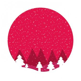 Winter ladscape schneebaumwald