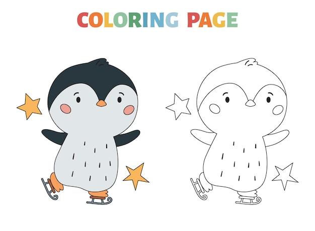 Winter-malvorlagen mit pinguin und schlittschuhen