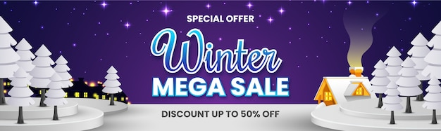 Winter mega sale banner