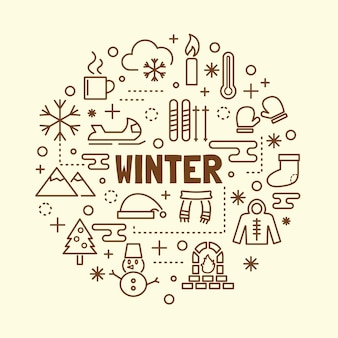 Winter minimal dünne linie icons set