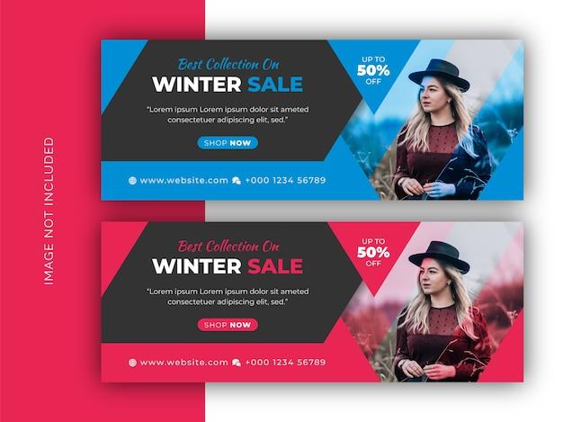 Winter mode verkauf social media web banner, flyer und facebook cover photo design vorlage