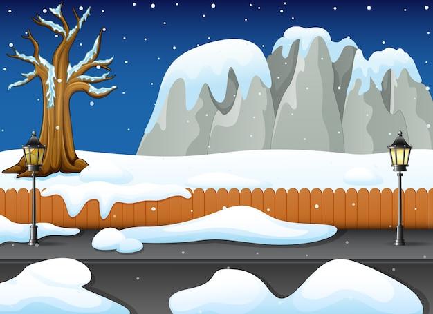 Winter nacht landschaft