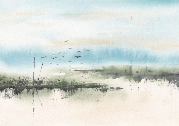 Winter natur aquarell landschaft malerei kunst design