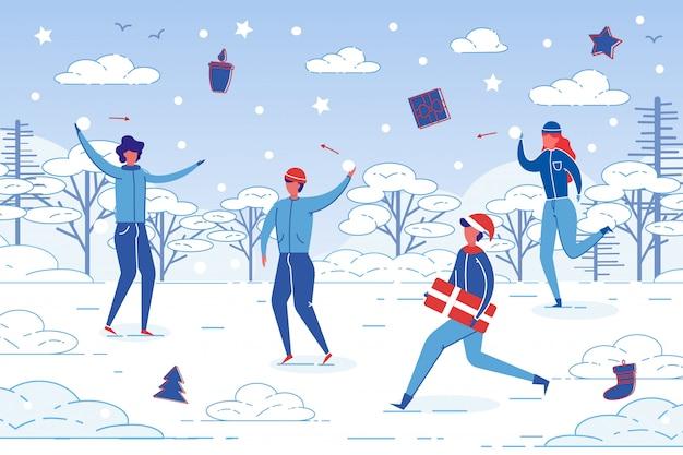 Winter outdoor-aktivität - menschen spaß zusammen.